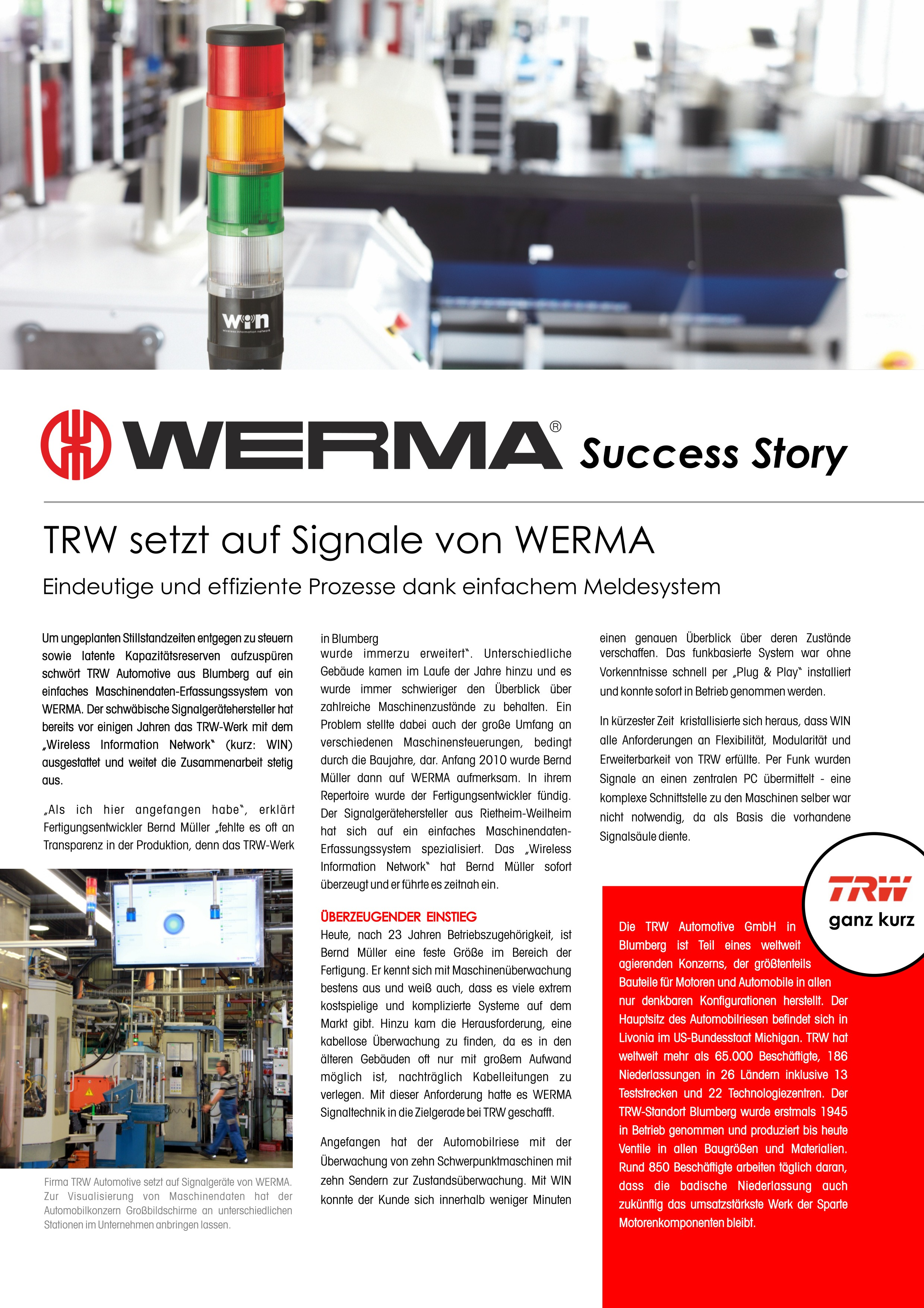 TRW - TRW calls for action with the help of WERMA